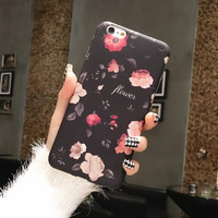 Korean  Classic Flowers Floral Soft Tpu case for iphone 6 6s 6plus 6splus Fashion Hipster Softpink Back Cover -0317