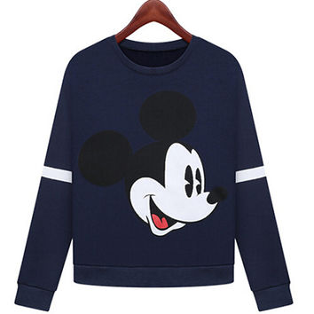 Mickey Print Long Cuff Sleeve Velvet Sweater