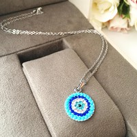 Evil eye necklace, turquoise beads necklace, turquoise evil eye necklace