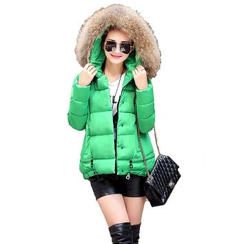 Womens Coats And Jackets Winter 2017 Bright Hooded Quilted Jacket With Fur Collar Goose Down Parka Women Jaqueta Chaquetas Mujer