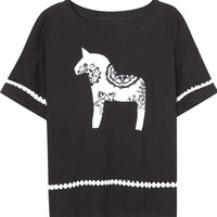Black Horse Print Lace Accent T-shirt