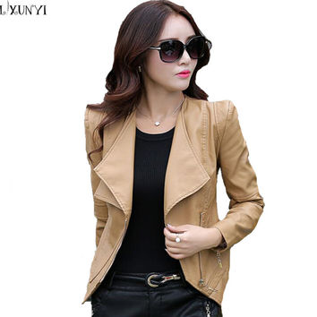 Genuine leather jacket For Women Korean Short Thin Khaki Zipper leather Coat Plus Size Slim Long Sleeve Biker leather jacket 3XL