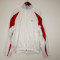 White Red Nike Jacket 90s Trainer  Vintage Nike Jacket 90s Athletic Training Jogging Track jacket Hipster Medium Size