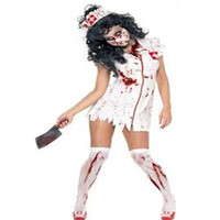 White and Red Zombie Nurse Halloween Costume