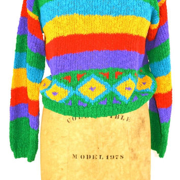 On SALE RAINBOW SWEATER: Gitano 80s Sweater // 80s Rainbow Jumper // Indie Hipster // Geometric Sweater // Aztec Sweater