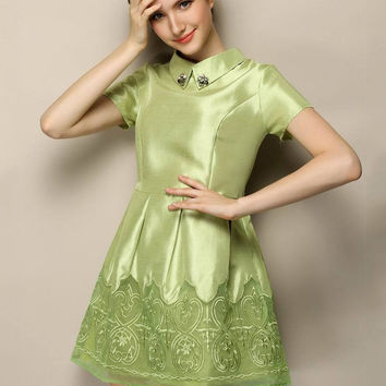 Green Embroidered Short Sleeve Funnel Collar Shirtwaist A-line Pleated Mini Dress