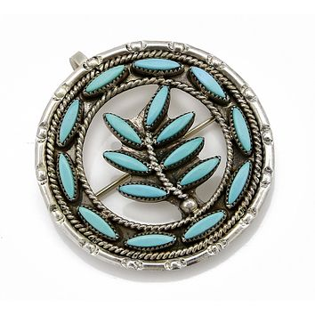 1980's Zuni Needlepoint Natural Turquoise .925 Silver Handmade Pin or Pendant