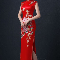 Beaded Chinese Wedding Traditional Qipao Gown