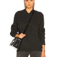 Helmut Lang Distressed Cashmere V Neck Sweater in Charcoal | FWRD