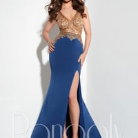 Panoply 14801 Gold Bodice Formal Prom Dress