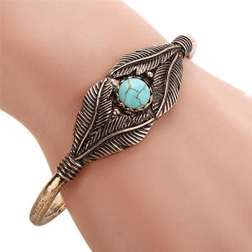 Boho Open Leaf Bracelet Femme Nature Stone Bangle Charm Tribal Bracelet Women Ethnic Bracelet Indian Native American Jewelry