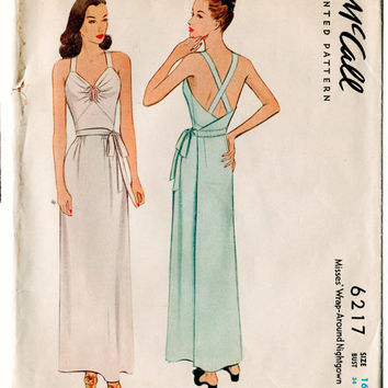 1940s vintage Slip Lingerie sewing pattern negligee gown low plunge back Size 16 Bust 34 McCall 6217