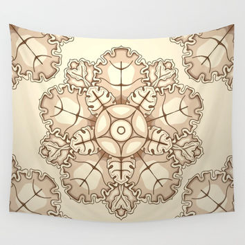 Beige elegant ornament fretwork Baroque style Wall Tapestry by maria_so