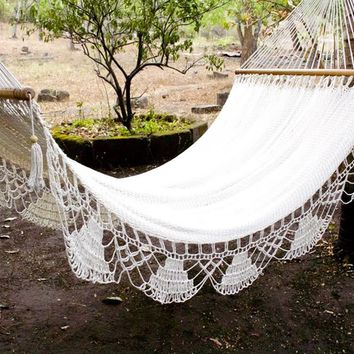 Natural White Hammock , 100% Cotton and Hand Woven