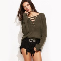 Lace Up High Low Knitted Sweater V Neck Cut Out Boho Pullover Fall Fashion Women Vintage Green Casual Sweater