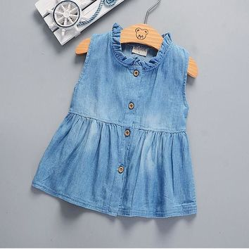 Pudcoco 2017 Toddler Kids Girls Toddler Baby Sleeveless Princess Dress Denim Tutu Dresses