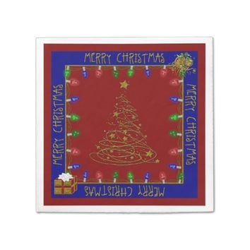Merry Christmas Lights-Blue-Red-1-PAPER NAPKINS
