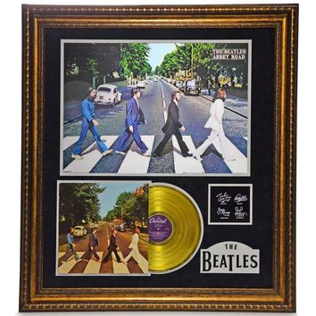 "THE BEATLES ""ABBEY ROAD"" FRAMED GOLD LP RECORD COLLAGE #D/25 W/ AUTOGRAPHS PHOTO"
