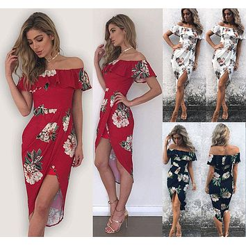 Fashion Women Off Shoulder Beach Boho Dress Red Black White Chiffon Ruffle Floral Print Split Party Maxi Dresses Summer Clothes