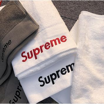 Supreme Fashion Women Men Letter Embroidery Cotton Soft Water Absorption White Couple Towel Bath Towel I13484-1