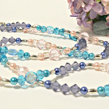 Sunset - Long Crystal, Glass & Pearl Necklace in the Colors of a Sunset - Aqua, Pink, Purple