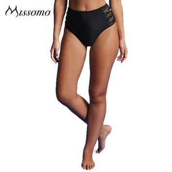 PEAPYV3 Missomo Fashion 2017 Solid Black Women Panties High Waist Side Hollow Out Mesh Up Sheer Briefs Lady's New Design Underpants