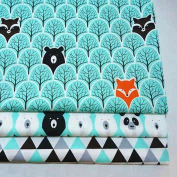 DIY baby crib bedding cushions apparel quilting decor twill cotton fabric cartoon jungle bear blue black grey tri angle print