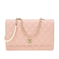 Chanel Nude Lambskin Fantasy Pearls Large Evening Flap Bag