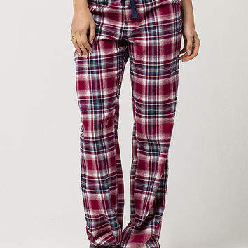COSMIC LOVE Burgundy Plaid Womens Flannel PJ Pants | Pajamas