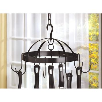 Pot Rack-Mini Round Black Iron
