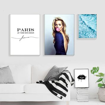 Kate Moss Black Lips Fashion Model Posters and Prints Wall Art Canvas Painting Nordic Decoration Pictures Girls Bedroom Decor