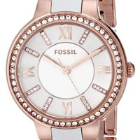 Fossil Women's ES3561 Virginia Three-Hand Stainless Steel and Nylon Watch - Rose Gold-Tone