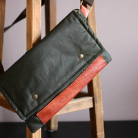Waxed canvas pouch - leather pouch - biker bag - retro looking pouch - waxed canvas bag - waxed canvas shoulder bag