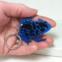 Poison Dart Frog Azureus Key Chain Hand painted Leather