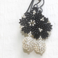Black and Silver Beaded Disc Go Round Earrings