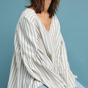 Estate Striped Peasant Blouse