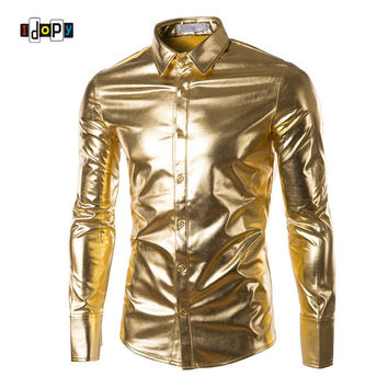 Mens Night Club Coated Metallic Halloween Gold Silver Button Down Shirts Party Shiny Long Sleeves Dress Shirts For Men