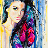"""Colorful Feathers watercolor painting print 8"""" x 12"""" Woman, Blue, Imperial blue, Cobalt,"""