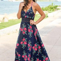 Navy Floral Maxi Dress with Crochet Detail