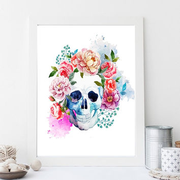 "Printable Wall art Poster /skull with flowers/ 8""x10"" Instant Download print for home Decor TheLabelBoutique digital artwork"