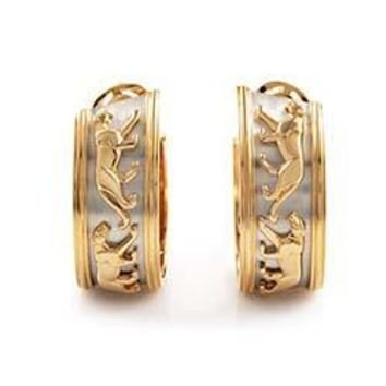 Cartier Panthere Yellow and White Gold Hoop Earrings