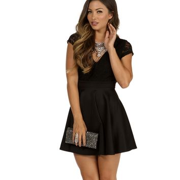 Black Romantics Lace Skater Dress