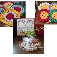 Pattern: Fun in the Sun Coaster, Table Mat, Granny Square