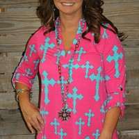 Amazing Grace Cross Top in Hot Pink and Turquoise