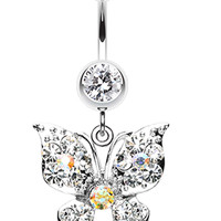 Luminous Butterfly Glam Belly Button Ring