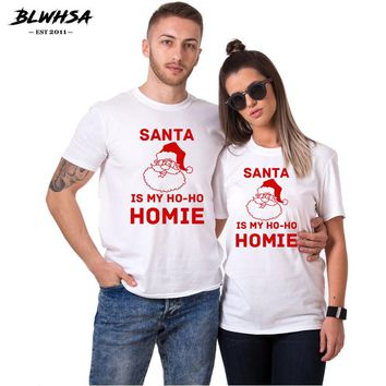 Couple Women T Shirts 100% Cotton Christmas Santa Men T-Shirt For Girlfriend Boyfriend Gift