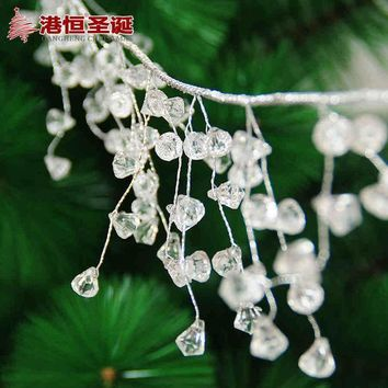 ESBONHS Christmas Tree Hanging Decoration 1.1m Length Silver Wire 1cm White Acrylic Crystal Chain Xmas New Year Party Wedding Ornament