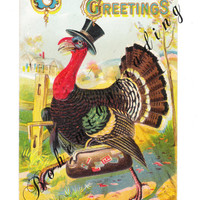 Antique Thanksgiving Postcards. Set of 3. Comic Dressed Turkeys. Tuck Early Auto. Turkeys Escaping. Thanksgiving Décor. Fall Collectibles