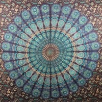 MultiMate Turquoise Blue Peacock Mandala Tapestries, Hippie Tapestries, Tapestry Wall Hanging, Wall Art, Hippie Wall Tapestries, Indian Tapestry, Bohemian Dorm Tapestries