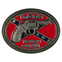 In Dixie Revolver Rebel Flag Belt Buckle